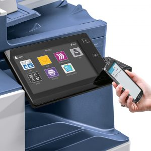 Xerox Altalink Front Panel with person holding phone