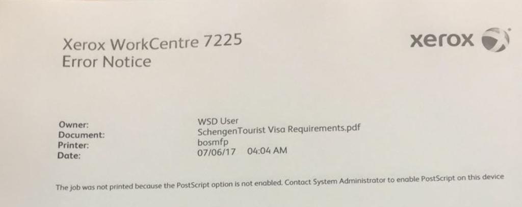 Xerox 7225 Post Script Error | USA Copier Lease