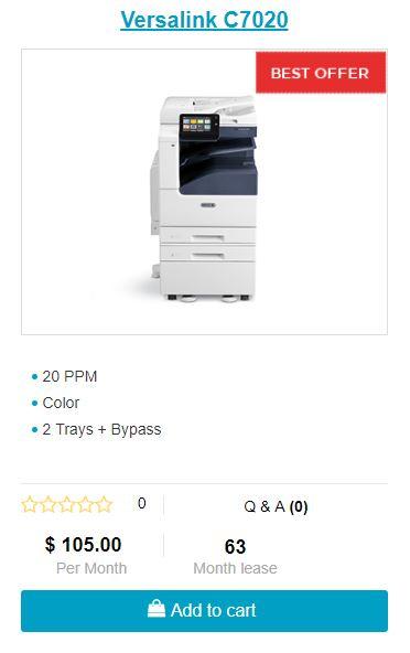 Lease Xerox Versalink C7020