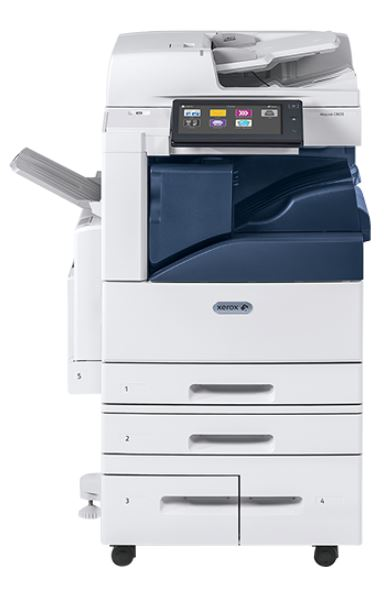 Xerox Altalink C8030 with Integrated Stapling Finisher that shows the location of the integrated finisher and it's capacity of 50 sheets per staple.