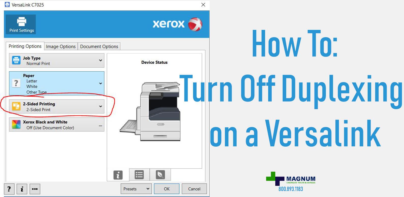 How to turn off Duplex on Versalink | USA Copier Lease
