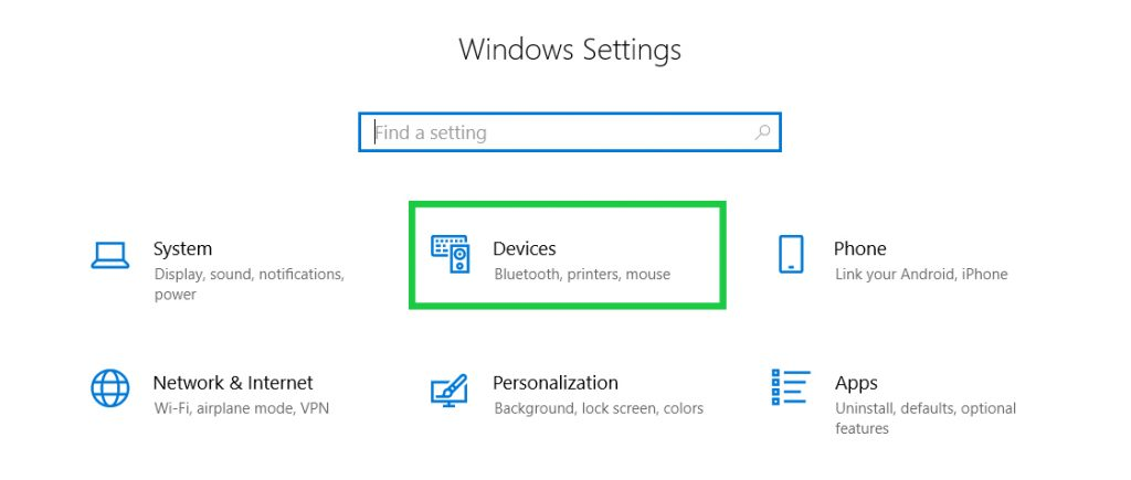 Windows Settings to Select Devices and Printers